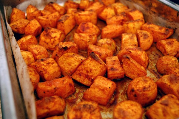 Roasted Sweet Potatoes with Cinnamon and Honey
