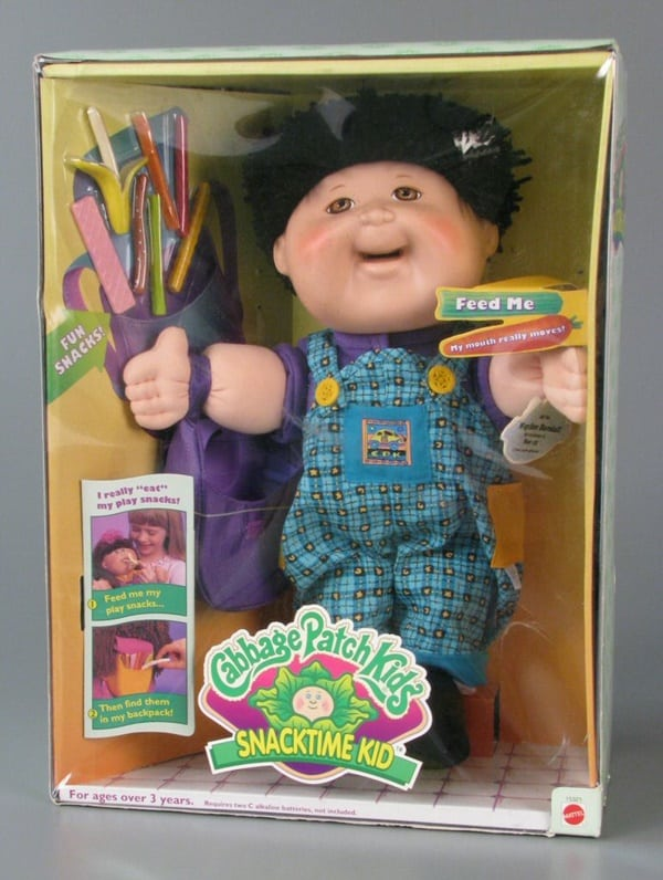 The Cabbage Patch Snack Time doll pictured here is one of the 5 inappropriate real toys