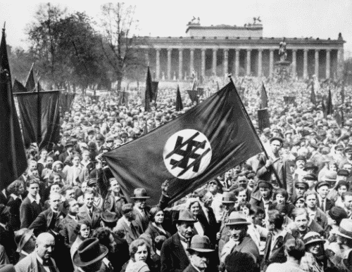 Rare historical photos of an anti-nazi demonstration