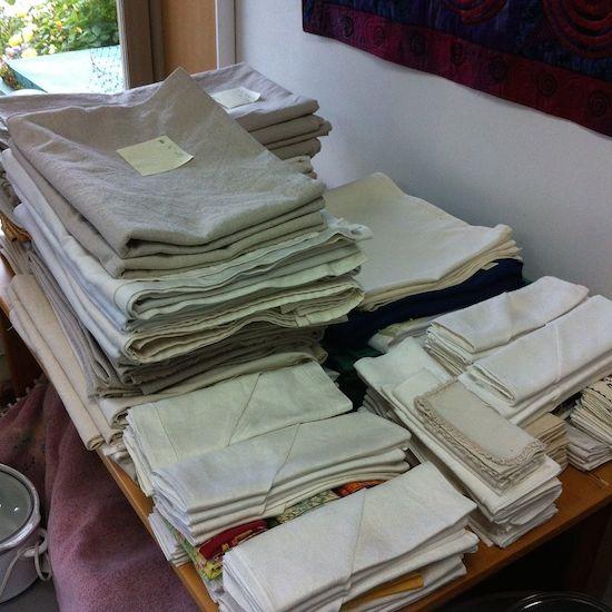 linens ready for wedding dinner