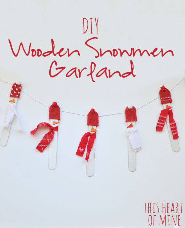 Wooden Snowmen Garland 7
