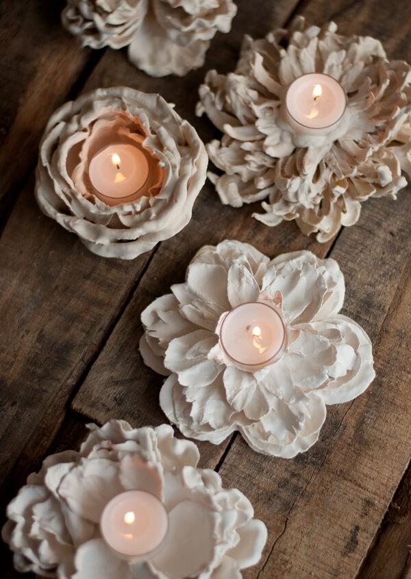 Plaster Flower Votives | this heart of mine