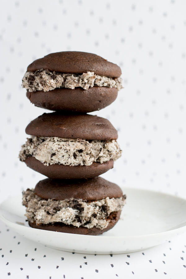 Chocolate Whoopie Pies with Cookies n Cream Filling!   this heart of mine