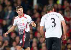 MANCHESTER, ENGLAND - Wednesday, September 25, 2013: Liverpool's captain Steven Gerrard screams at team mate Jose Enrique during the Football League Cup 3rd Round match against Manchester United at Old Trafford. (Pic by David Rawcliffe/Propaganda)
