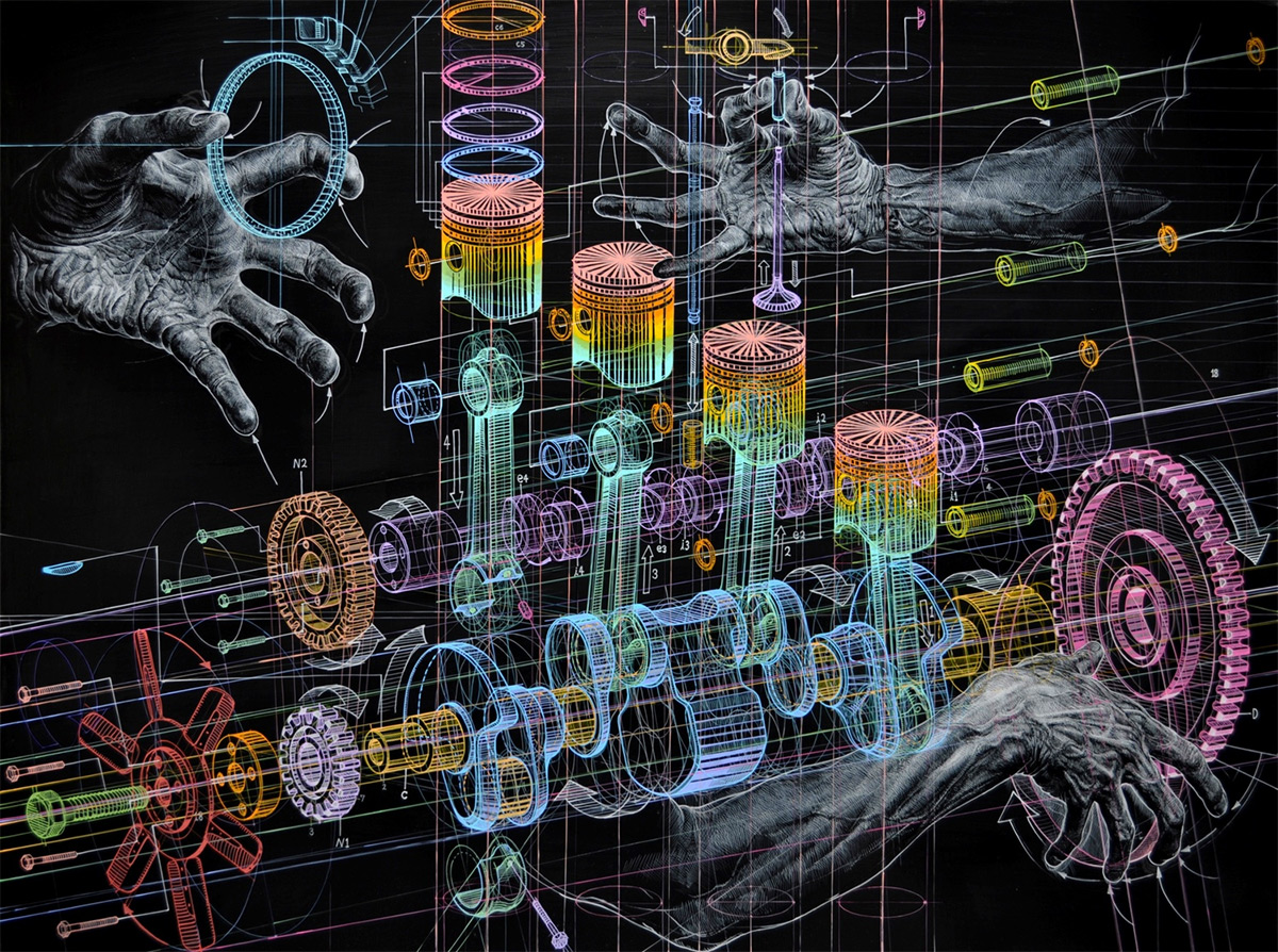 3d Painting Hd Wallpaper Mechanical Drawings And The Human Form Merge In Oil