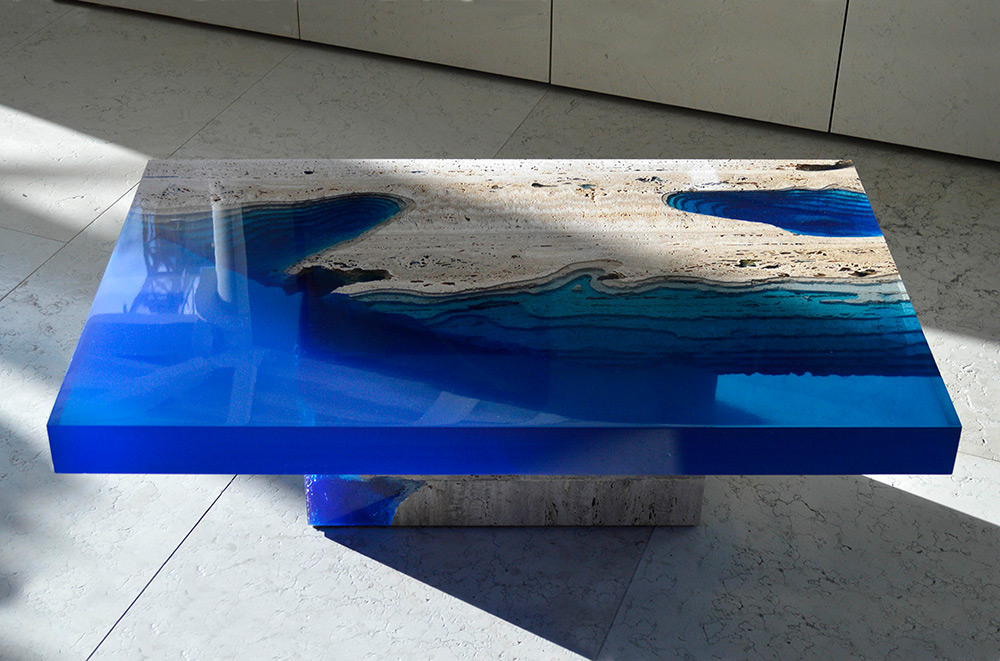 Cut Travertine Marble And Resin Merge To Create Lagoon