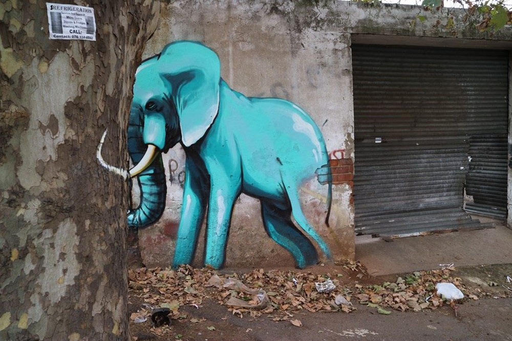 3d Wallpaper Editor Site Specific Elephant Murals On The Streets Of South