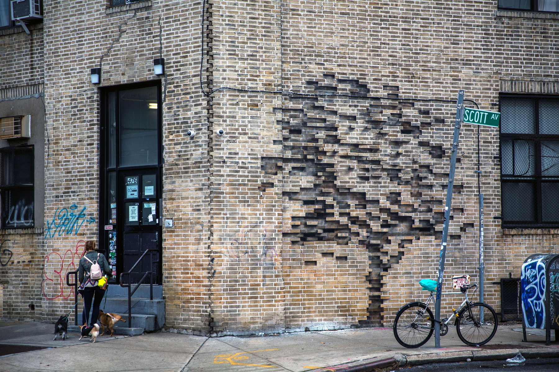 Illusion Wallpaper 3d Trees Grow From Bricks And A Storefront On The Streets Of