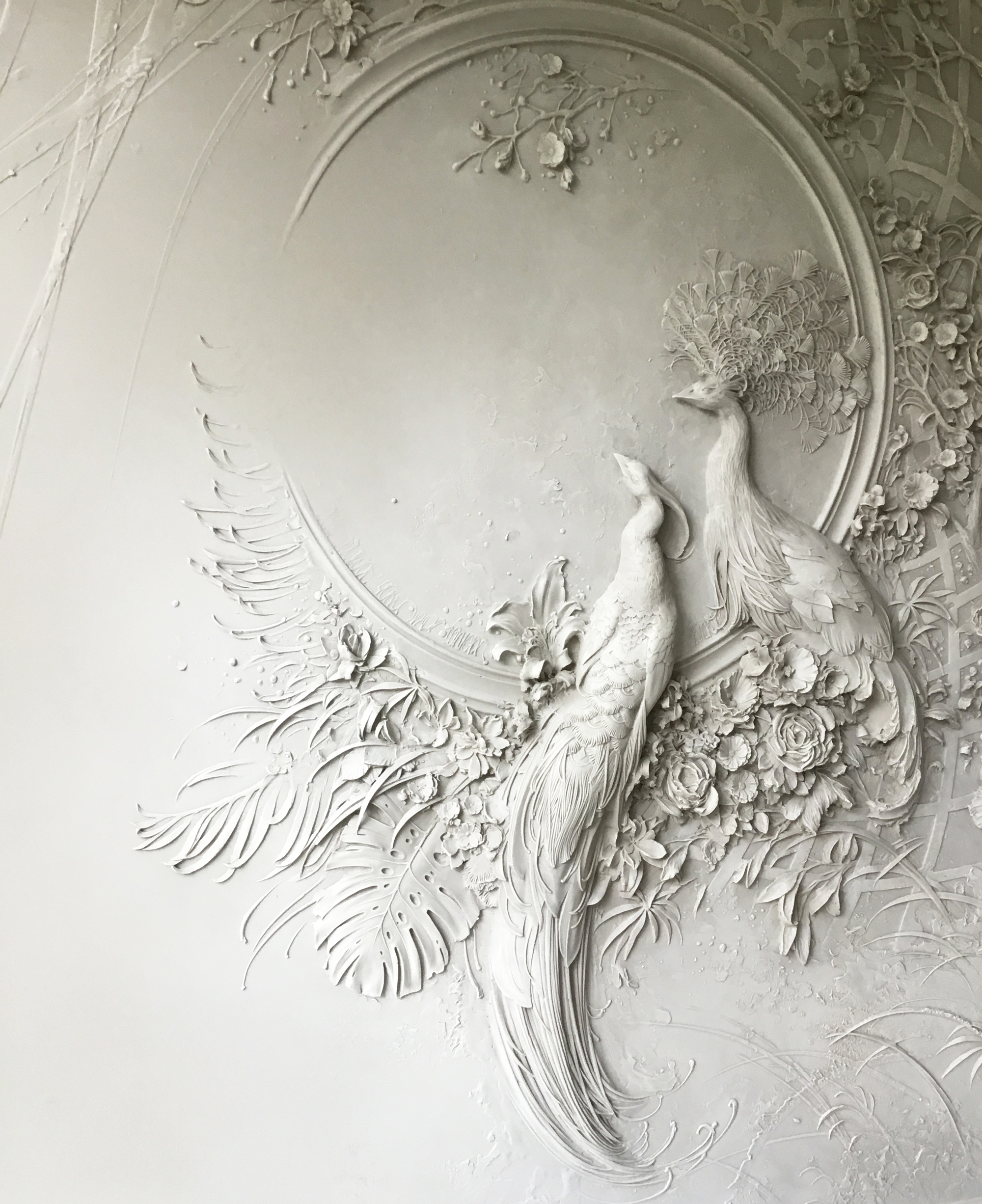 3d Stone Wallpaper For Walls Interior Bas Relief Sculptures Of Peacocks And Lush