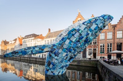 A 38-Foot-Tall Whale Made From 10,000 Pounds of Plastic Waste Surfaces in Bruges | Colossal
