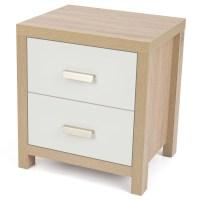 2 Drawer Oak Effect White Wood Bedside Cabinet Modern