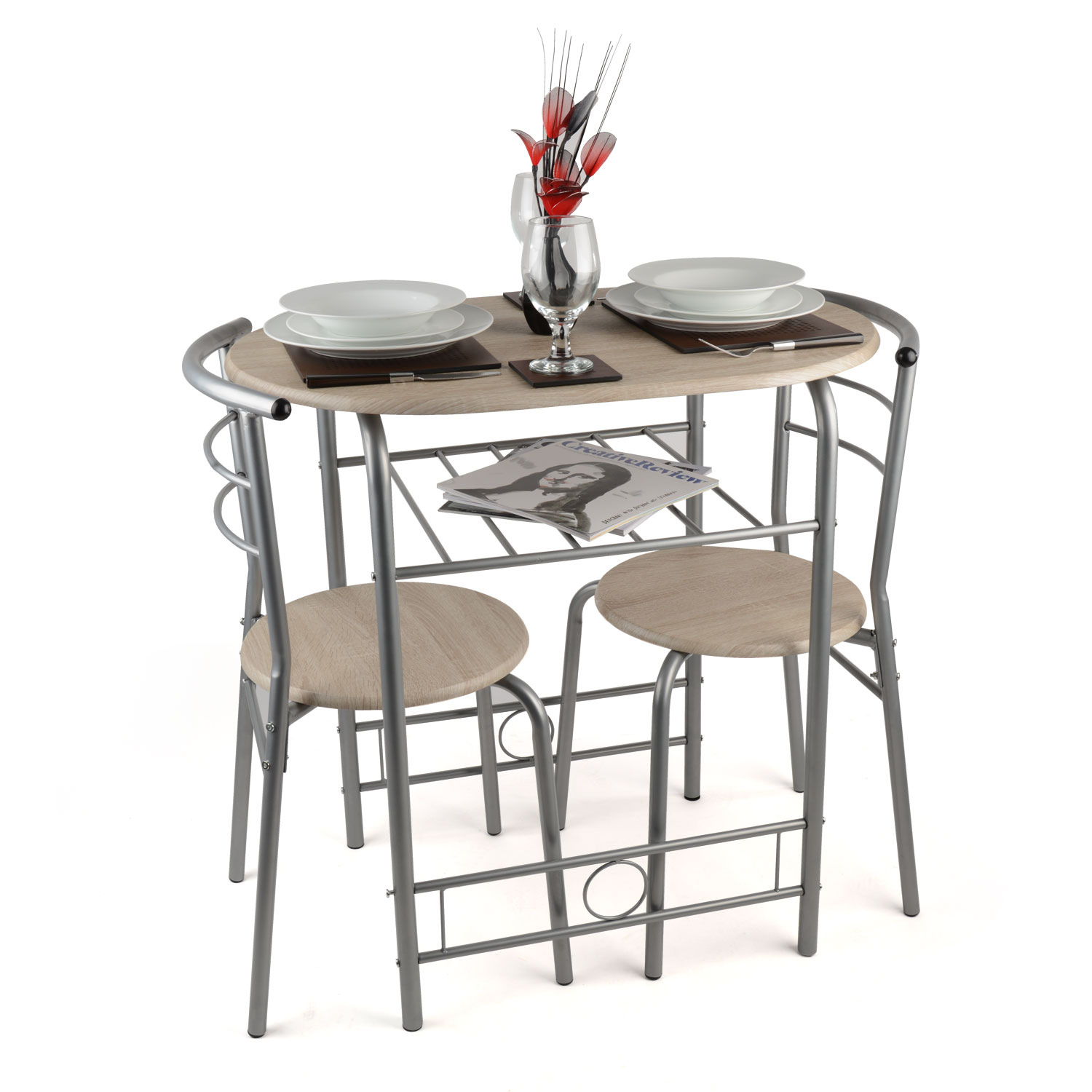 3 Piece Dining Set Breakfast Bar Kitchen Table Chairs