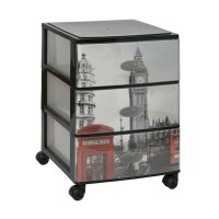 Cityscapes Plastic Drawer Unit On Wheels Trolley Storage ...