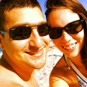 thismomhere enjoying the beach with husband