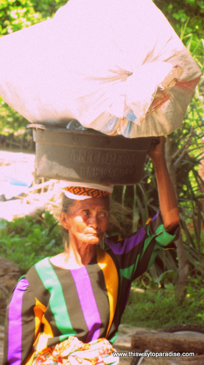 Woman on Gili Air with basket