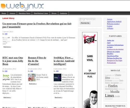 Création de site d'actualité tel que webynux.net