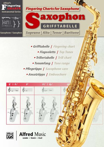 Alfred Music Publishing Fingering Chart f Saxophone \u2013 Thomann UK - saxophone fingering chart