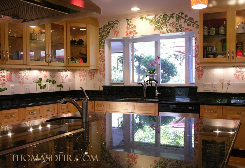 Tropical Flowers Tile Mural Kitchen Remodel Honolulu