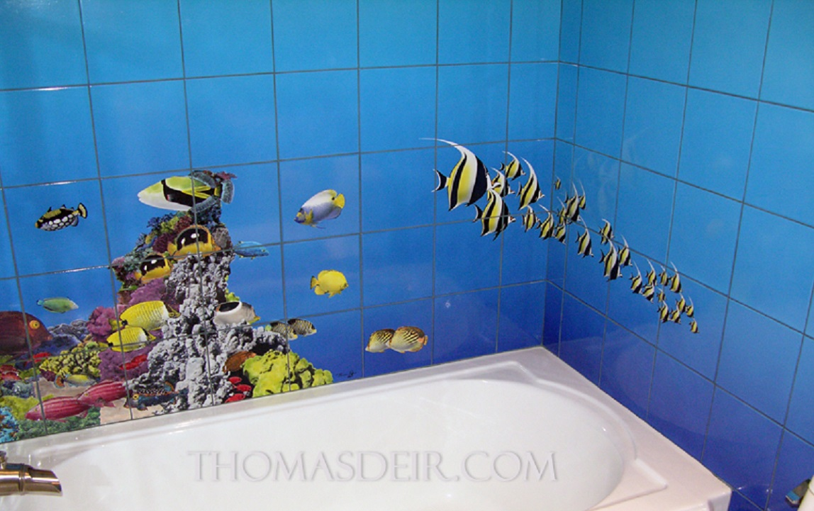 Bathroom renovation tile murals