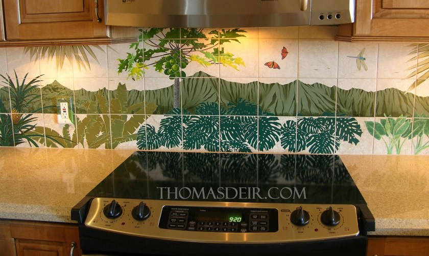 Hawaiian flowers landscape kitchen backsplash tile mural