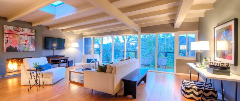 87 Marinita Avenue San Rafael living room with fireplace and skylights