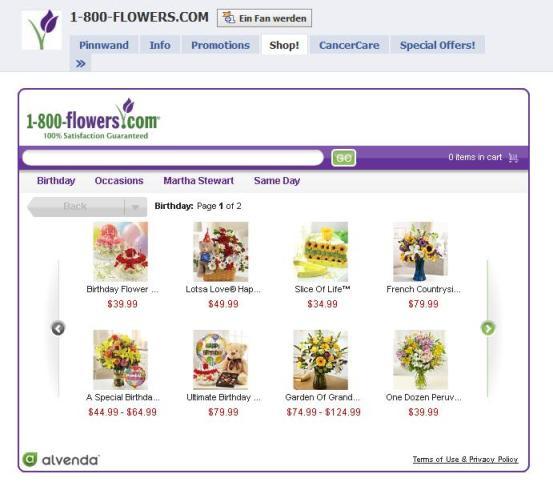 1-800-flowers.com FanPage Ecommerce