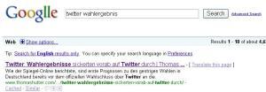 """Google Suchergebnisse """"Twitter Wahlergebnis"""""""