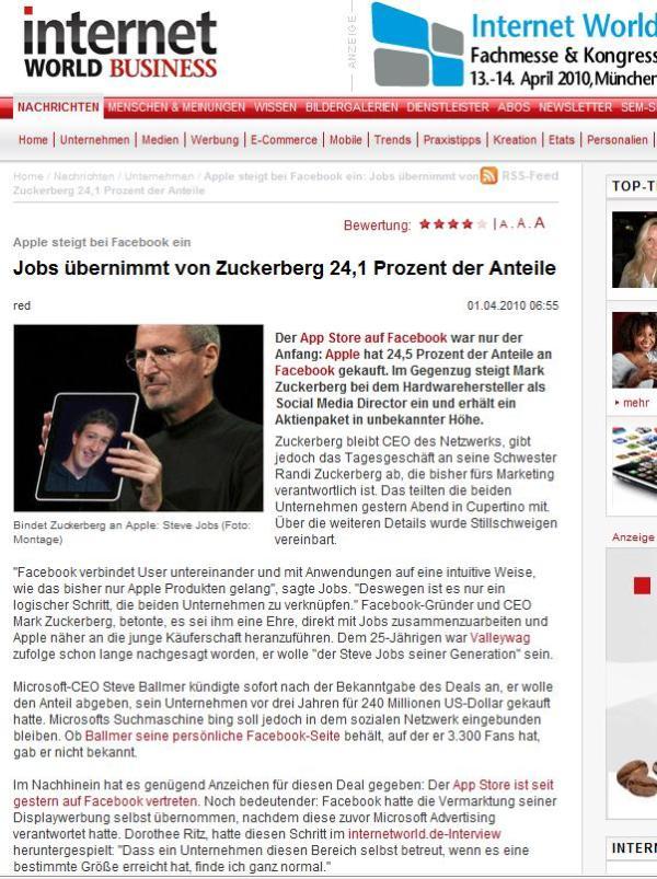 internetworlde.de - Apple steigt bei Facebook ein