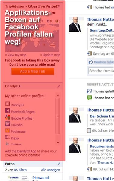 Applikations-Boxen auf Facebook Profilen fallen weg