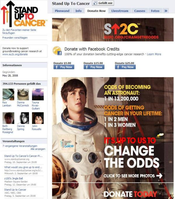 "Landingpage von ""Stand Up To Cancer"""