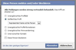 """Falsche Profile melden """"Diese Person melden/blockieren"""""""