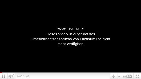 YouTube Video - gesperrt durch LucasFilm Ltd