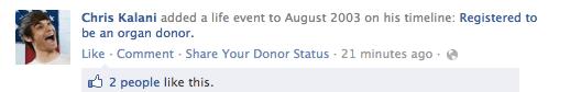 """Newsfeedbeitrag """"Organ gespendet"""" bei Facebook"""