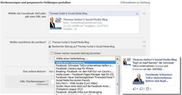 Auswahl des zu bewerbenden Beitrags im Anzeigenmanager inkl. Vorschau des Page Post Ad