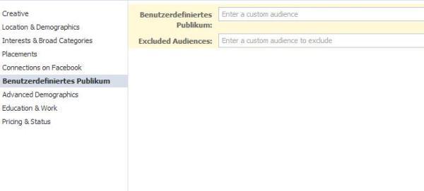 Audiences für Facebook Ads (Benutzerdefiniertes Publikum) - Auswahl in den Ads