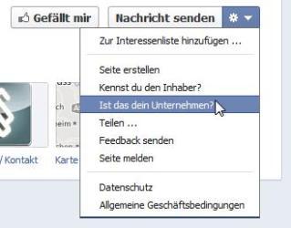 Initiierung des Claiming-Prozess für Facebook Orte