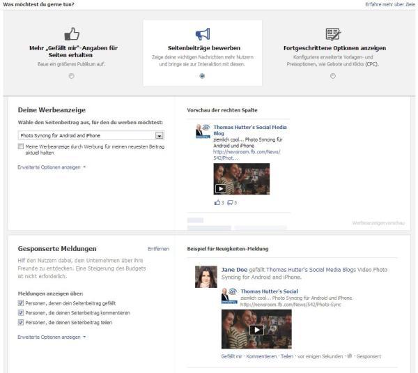 Erstellung von Page Post Ads über den Werbeanzeigenmanager