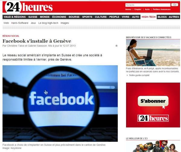 "24heures.ch ""Facebook s'installe à Genève"""