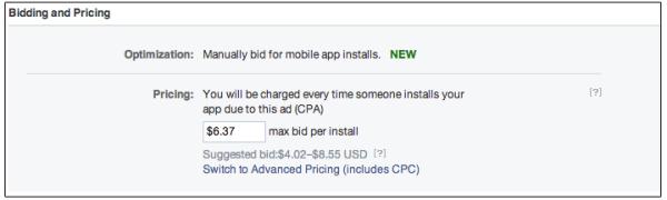 CPA Cost per Action als Gebotsvariante im AdManager oder PowerEditor (Quelle: Facebook)