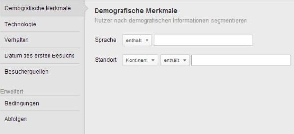 Alte Auswahl der Demografischen Merkmale
