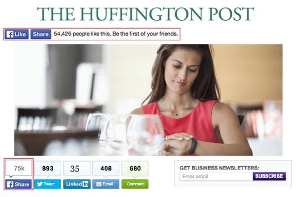 Platzierungsbeispiel Huffington Post (Quelle: Facebook)