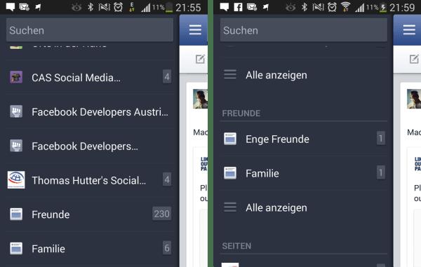 Freundeslisten auf der Facebook Mobile App (Android)