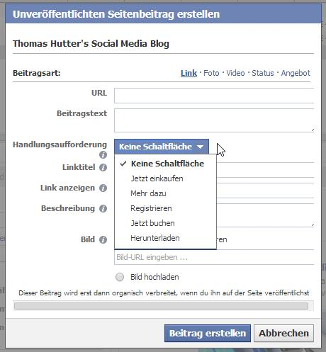 "Auswahl der ""Call to Action""-Buttons im Power Editor"