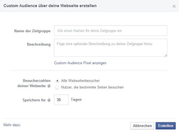 Custom Audience über deine Website erstellen