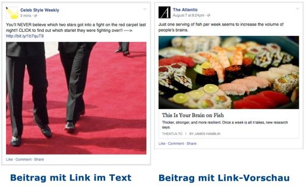 Beitrag mit Link im Text vs. Link-Post (Quelle: Facebook)