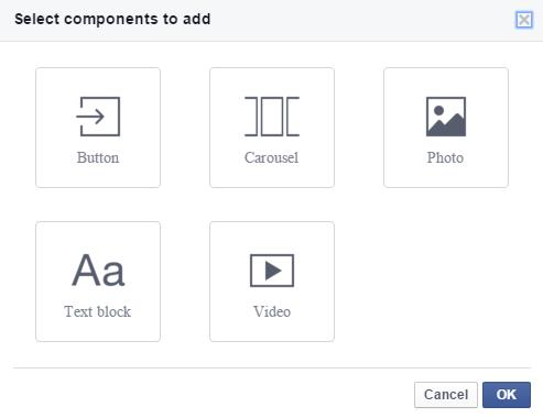 """Add Component"" im Canvas Editor"