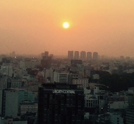 The sun going down over Saigon