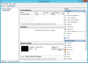 Windows Server 2012 Hyper-V Manager