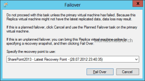 Hyper-V Replica Failover Recovery Point