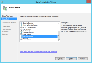 Windows Server 2012 Failover Cluster Manager High Availability Wizard